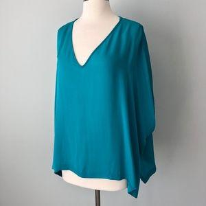 DIANEvonFURSTENBERG   Teal Blue Poncho Top Silk